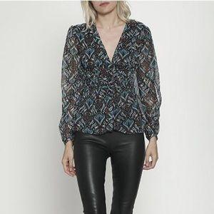 Walter Baker Joan metallic georgette peplum blouse